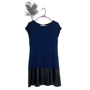 Bailey 44 Tanum Blue Striped Faux Leather Dress